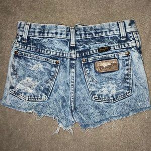 Wrangler Shorts - Blue acid wash high waisted shorts